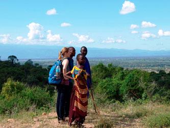 Maasai hike hill