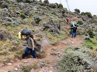 Porteadores en Kilimanjaro