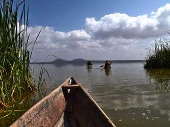 Canoeing in Lake Jipe